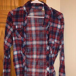 Red, White and blue plaid shirt